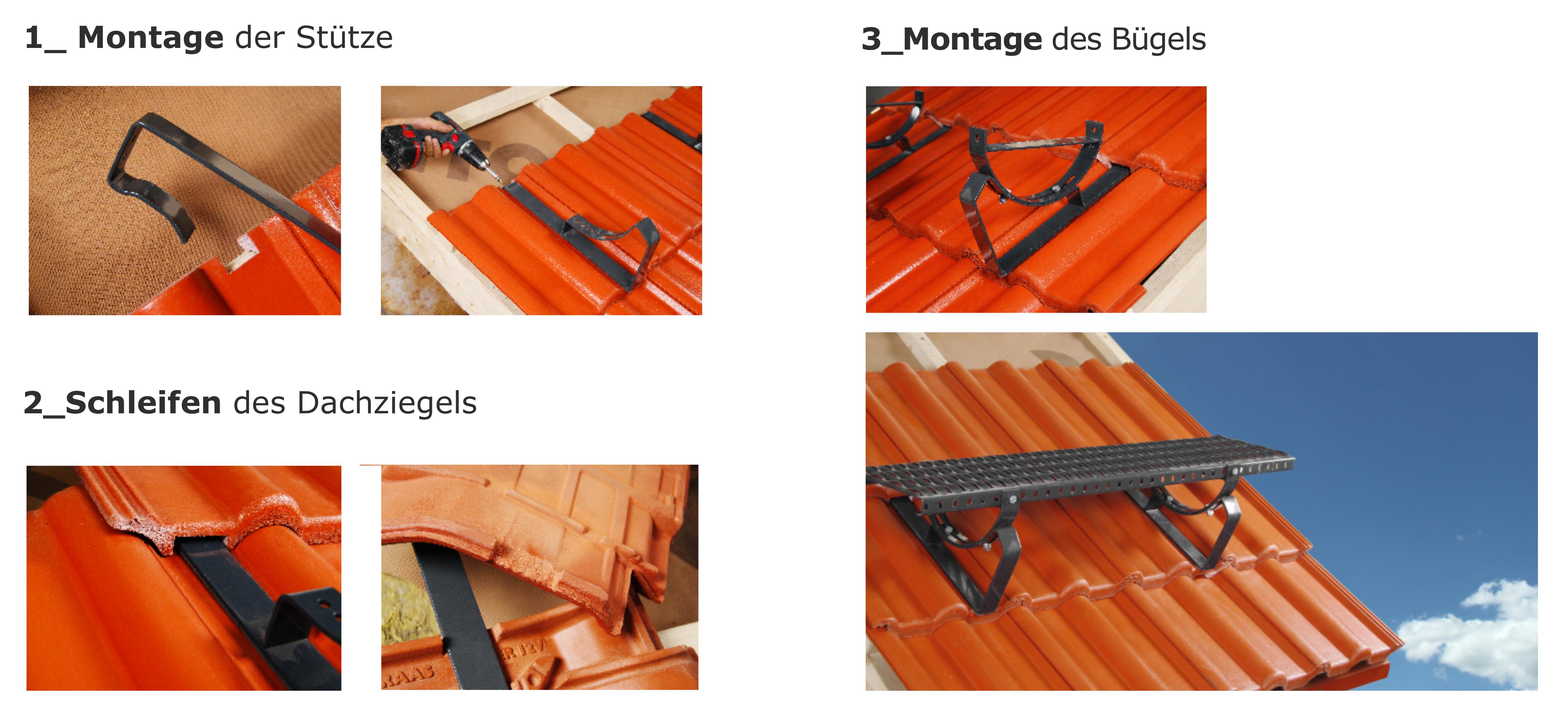 Anthrazit RAL 7016 DACHTRITT Steigtritt 100 cm f/ür Dachziegel und Biberschwanzziegel zum Einh/ängen